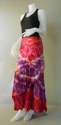 Free Shipping Boho Hippie Gypsy Tie Dye Cotton Long Circle Ruffle Wrap skirt(TD 33)
