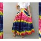 Boho Hippie Tie Dye Cotton Smock Waist Twirl Maxi Skirt (07)