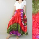 New Tropical Colorful Tie Dye Cotton Boho Hippie Smock Waist Maxi Skirt (06)