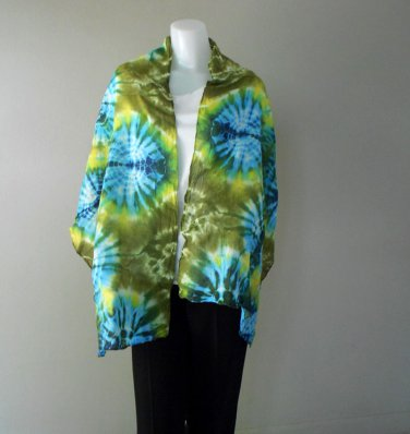 Free ShippingLadies 100% Tie Dye Cotton Scarf Multi-Color Shawl (24)
