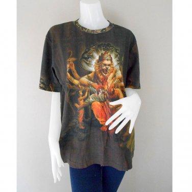 Black Unisex Short Sleeve Fine Eastern Art T-Shirt M-L (TS 01)
