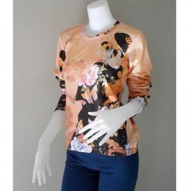 Flowers Art Print Gypsy Hippie Women Casual T- Shirt M-L (TS 04)