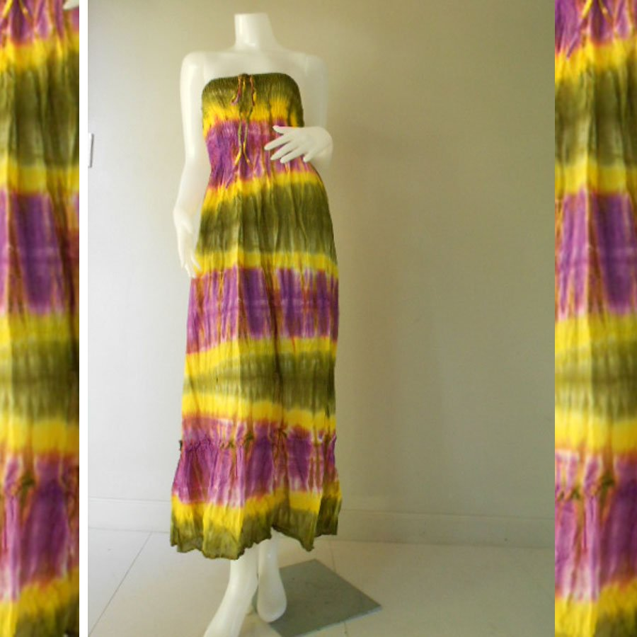 Plus size 2 in 1 Boho Hippie  tie dye cotton smock dress maxi summer sundress  long skirt (TD 128 )