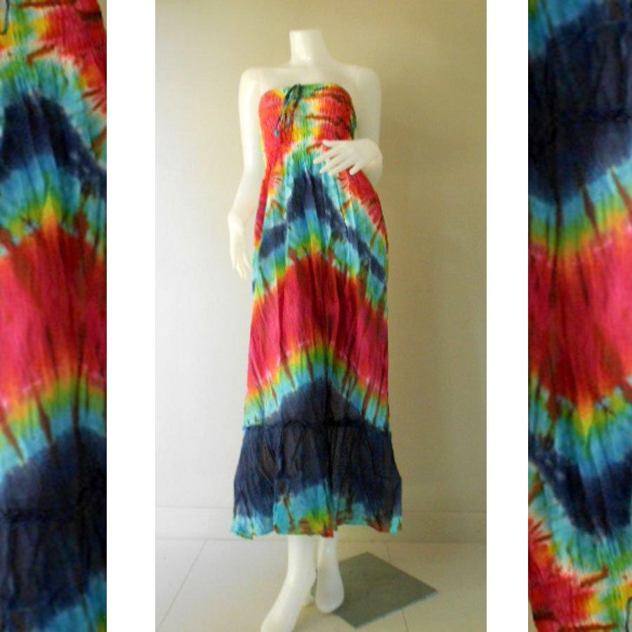 Free Shipping Tie Dye Cotton Summer Long Smock Dress V Neck Halter/Skirt (TD 126)