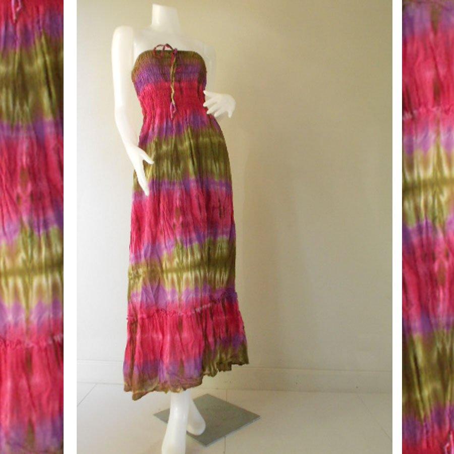 Plus size 2 in 1 Boho Hippie tie dye cotton smock dress maxi summer sundress long skirt (TD 124 )
