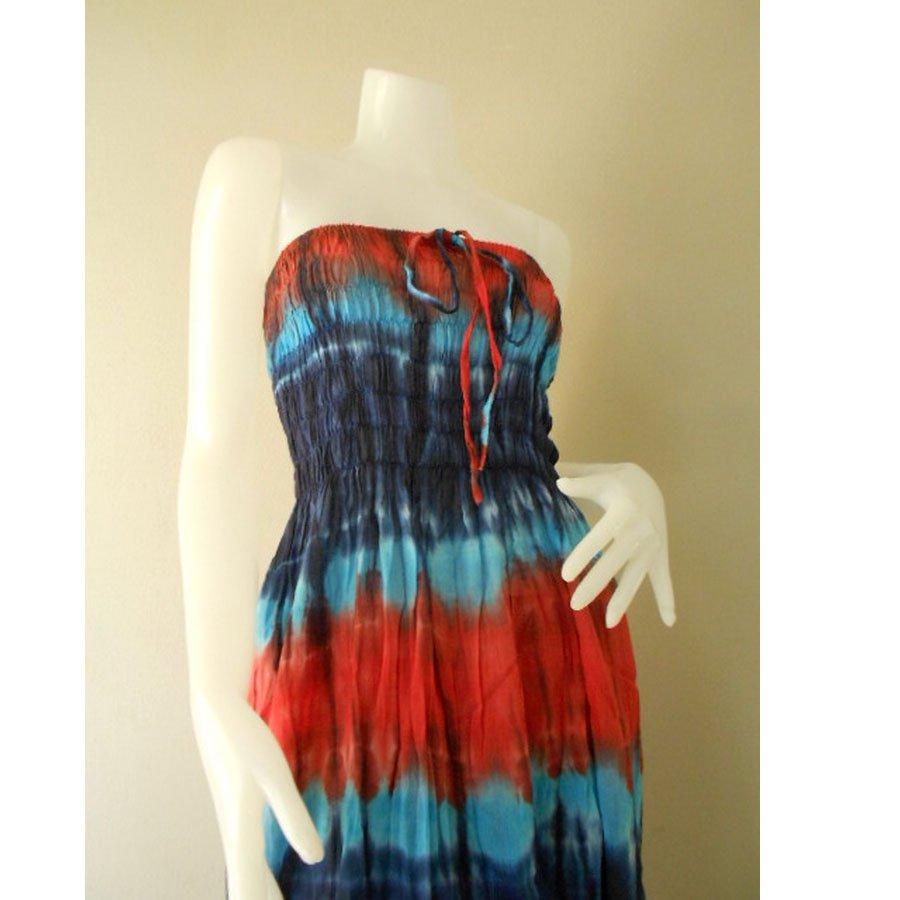 Plus size 2 in 1 Boho Hippie tie dye cotton smock dress maxi summer sundress long skirt (TD 122 )