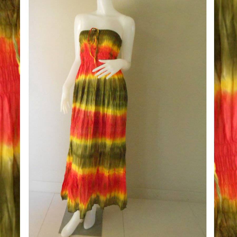Plus size 2 in 1 Boho Hippie tie dye cotton smock dress maxi summer sundress long skirt (TD 120 )