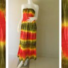 Plus size 2 in 1 Boho Hippie tie dye cotton smock dress maxi summer sundress long skirt (TD 120 )