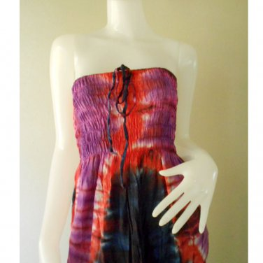 Plus size 2 in 1 Boho Hippie tie dye cotton smock dress maxi summer sundress long skirt (TD 114 )