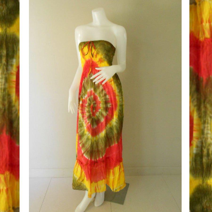 Plus size 2 in 1 Boho Hippie tie dye cotton smock dress maxi summer sundress long skirt (TD 104 )