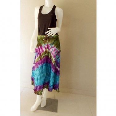 Boho Hippie Gypsy Tie Dye Cotton Multi color Smock Waist Long Skirt (30)