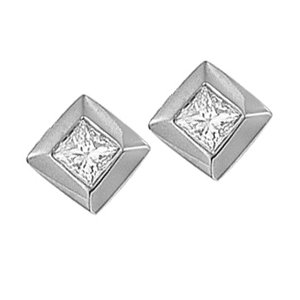 .25 CTW PRINCESS CUT DIAMOND STUD EARRINGS 14 K GOLD