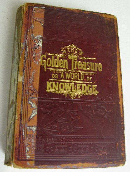 RARE Leather 1889 Antique American and World History Book Golden Treasure Presidents Wars Slavery