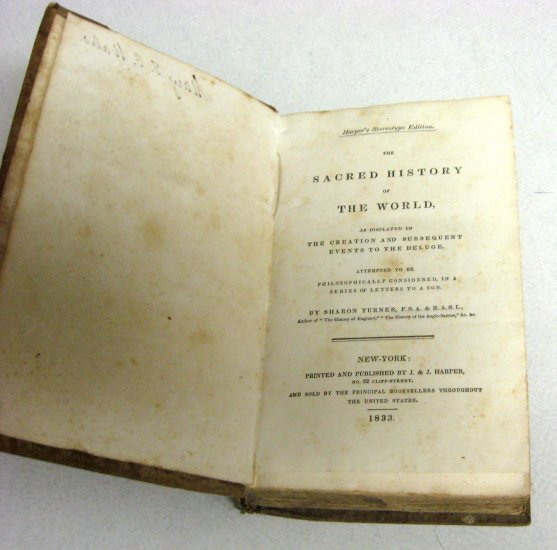 Rare 1833 Antique Old History Book Natural World Science Sacred Religion Harper Turner