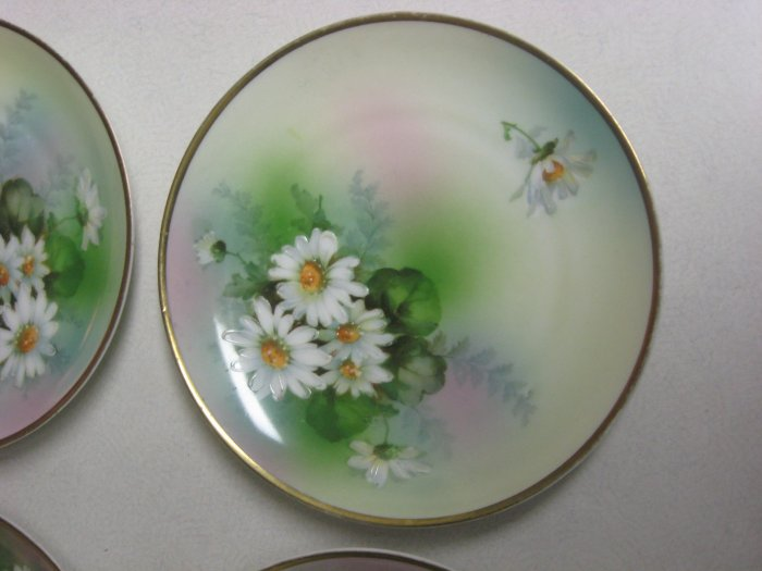 Rare Signed Prince Regent Antique Set 4 Hand Painted Bavaria Germany Plates Gold Edge Floral China