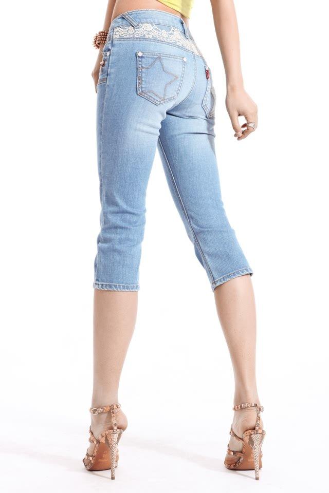 Women's Sexy Denim Lace Capris Size Medium - Item #IFWDK9728