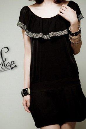 Sexy Little Black Flounce Collar Women's Dress Size Small - Item #IFWJ80895