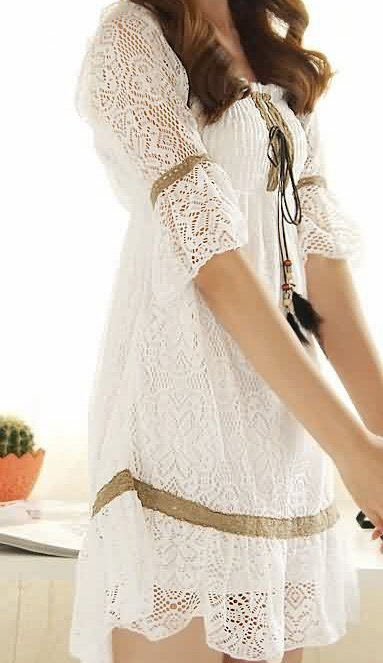 Gorgeous American Indian Style White Lace Baby Doll Dress Sz Small - Item #IFWDQ9193