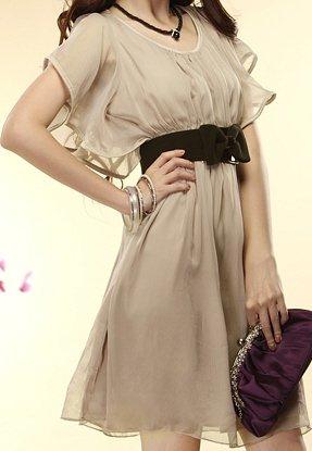 Unique Ripple Sleeves Chic Women's Fashion Dress Sz Small - Item #IFWJ81040Apricot