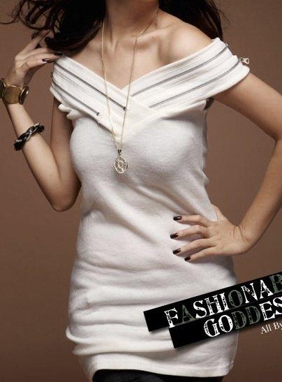 Sleek and Racy Off-the-Shoulder White Two-Zipper Dress Sz S/M - Item #IFWJ80062