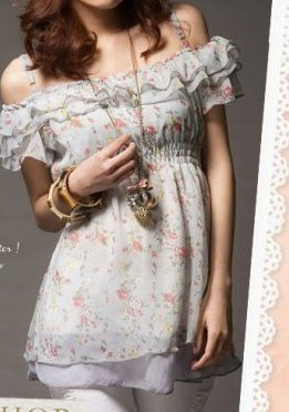 Sweet Floral Ruffle Strappy Baby Doll Top Sz Small / Medium -- Item #IFWJ81279Gray