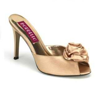 Satin Peep Toe Champagne Slides with Rose Sz 9 - Item #WMS443F-BORROSA01