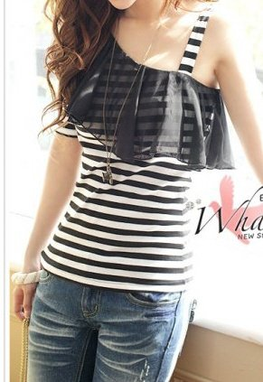 Adorable Striped Off-the-Shoulder Top with Sheer Flounce Juniors Sz XS Extra Small - Item #IFWJ81289