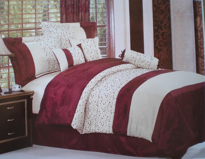 QUEEN Burgundy  and Beige with embroidery Strip Comforter set