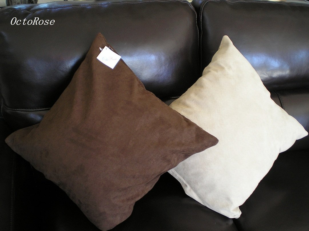 Set 2 of Beige  Heavy Duty Micro sude Cushion Pillow Covers Set of 2 18x18 inches