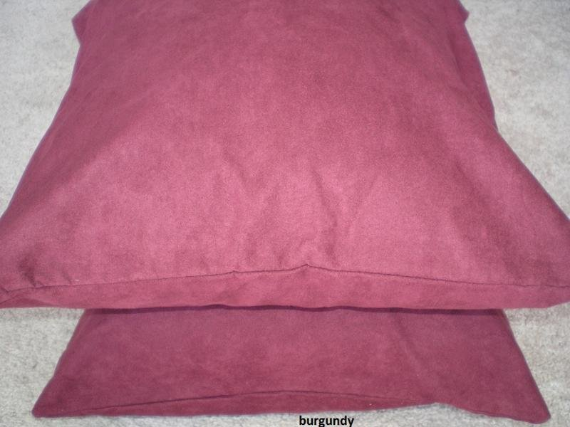 Set 2 of Burgundy  Heavy Duty Micro sude Cushion Pillow Covers Set of 2 18x18 inches