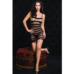 Striped Diamond Net Mini Dress