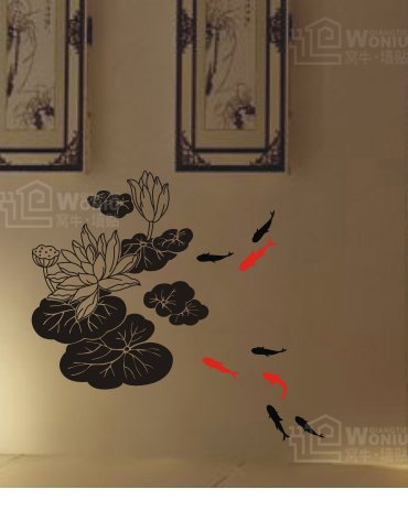 """lotus with fish Decal Sticker 25 1/2"""" *23 1/2"""""""