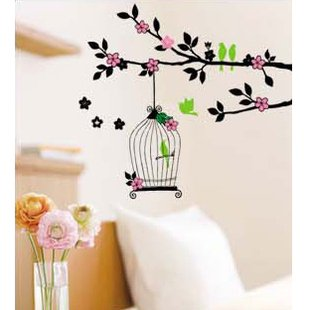 """Wall decals and vinyl wall art - Color birdcage branch Wall Decal Sticker 27 1/2""""*20"""""""