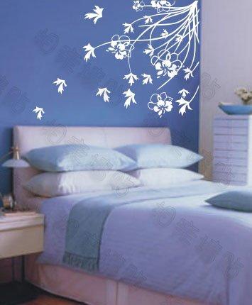 "Wall decals and vinyl wall art - flower branch wind wall decal sticker 47""*43"""