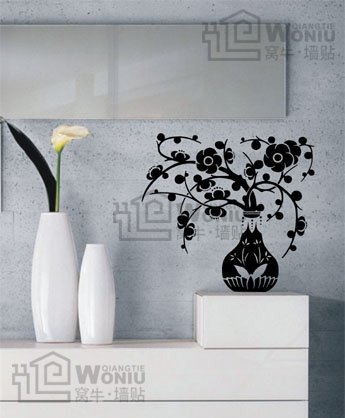 """Wall decals and vinyl wall art - flower vase wall decal sticker 22 1/2""""*21 1/2"""""""