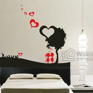 """Wall decals and vinyl wall art - kiss tree wall decal sticker 23 1/2""""*21"""""""