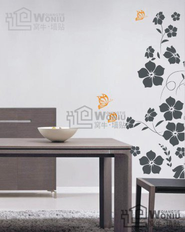 "Wall decals and vinyl wall art - butterfly flower wall decal sticker 35 1/2"" *12 1/2"