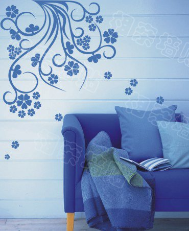 "Wall decals and vinyl wall art - flower bine coner wall decal sticker 22 1/2""* 22 1/2"""