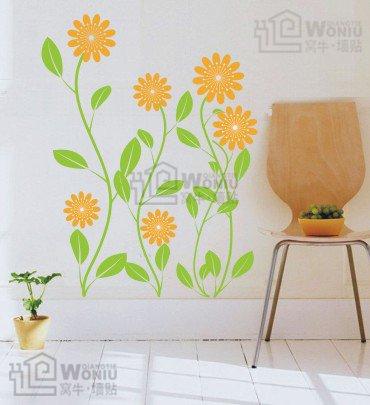 """Wall decals and vinyl wall art - chrysanthemum flower wall decal sticker 23 1/2"""" * 18"""""""