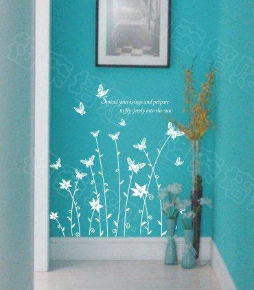 "Wall decals and vinyl wall art - butterfly grass wall decal sticker 31 1/2"" *23"""
