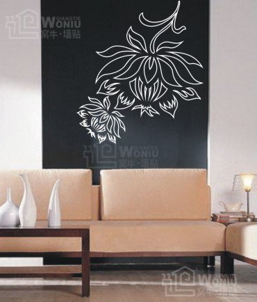 "Wall decals and vinyl wall art - flower wall decal sticker 26 1/2"" *23 1/2"""