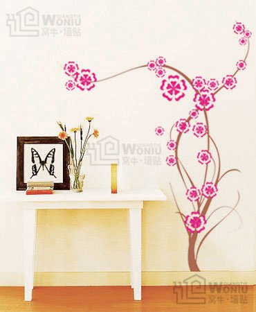 "Wall decals and vinyl wall art - flower tree wall decal sticker 47""*37 1/2"""