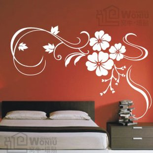 "Wall decals and vinyl wall art - three flowers wall decal sticker 31 1/2"" *21"""