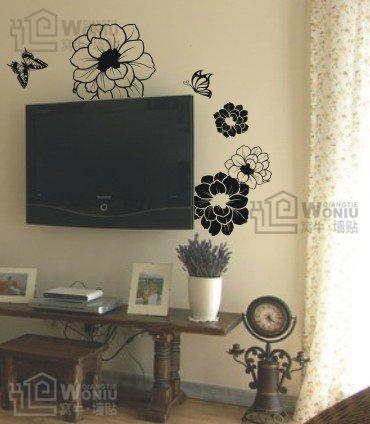 Wall decals and vinyl wall art - flower butterfly wall decal sticker