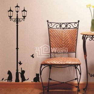 "Wall decals and vinyl wall art - cats lamp wall decal sticker 47 1/2""*24 1/2"""