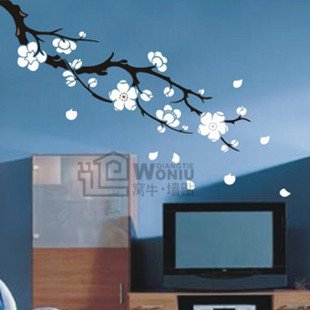 """Wall decals and vinyl wall art - plum blossom wall decal sticker 22""""*36 1/2"""""""