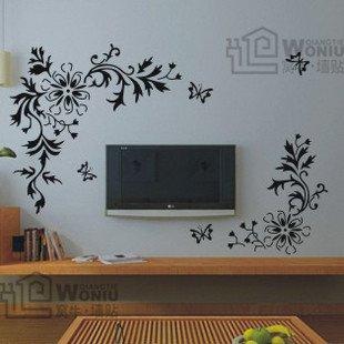 Wall decals and vinyl wall art - peony flower bine decal sticker