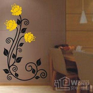 "Wall decals and vinyl wall art -Three mum flower decal sticker 39 1/2"" *8"""