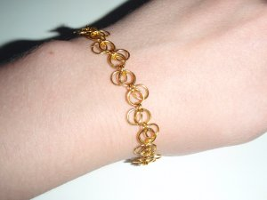 Golden Forget-Me-Not chainmaille weave bracelet