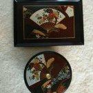 OTAGIRI Lacquer Wood VANITY SET Japan Fan Floral